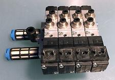 FESTO blocco PRS-ME-1/8-4 con 4 elettrovalvole MEH-5/2-18-B