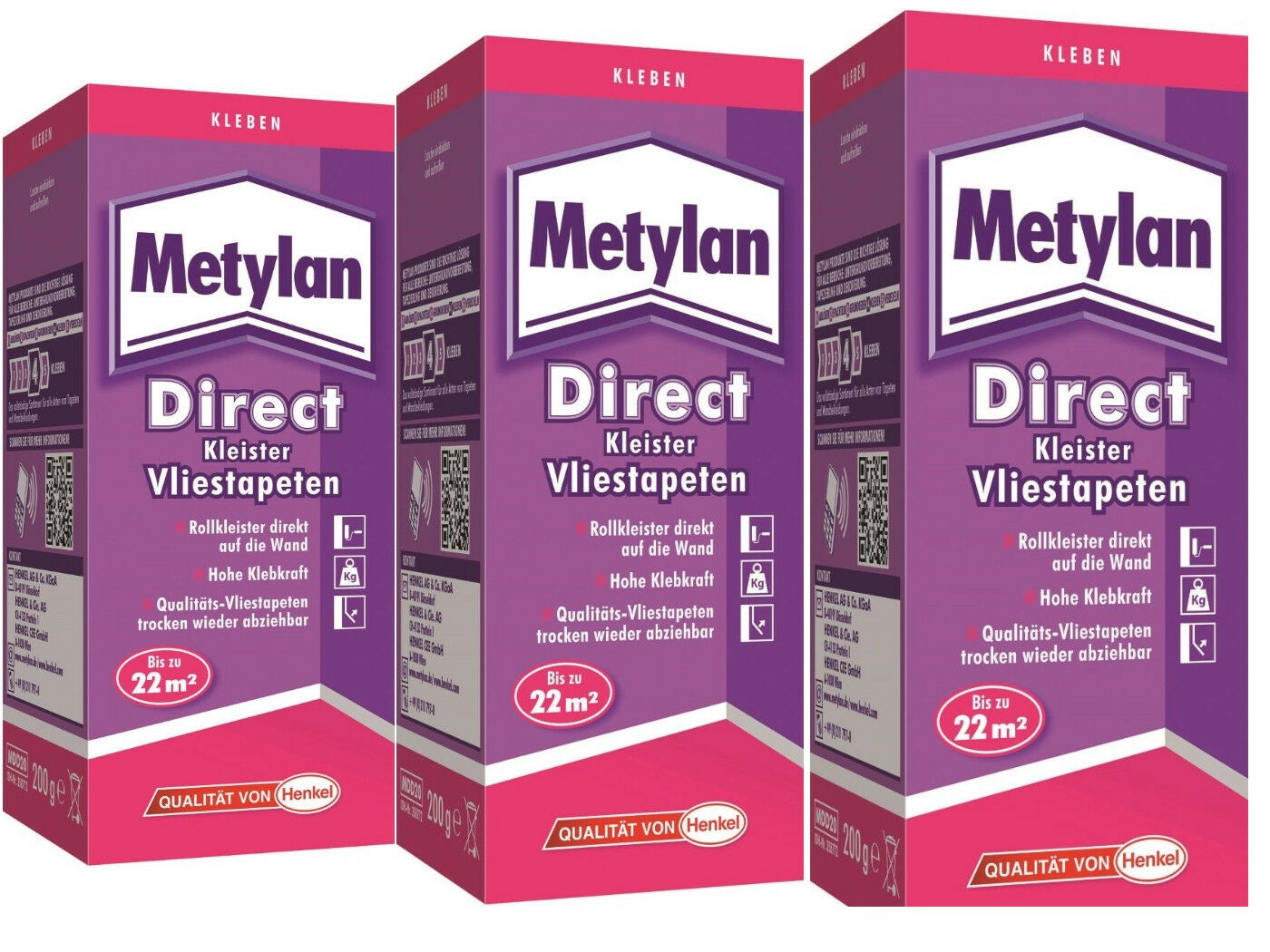 metylan direct kleister vliestapeten 3x200g | ebay