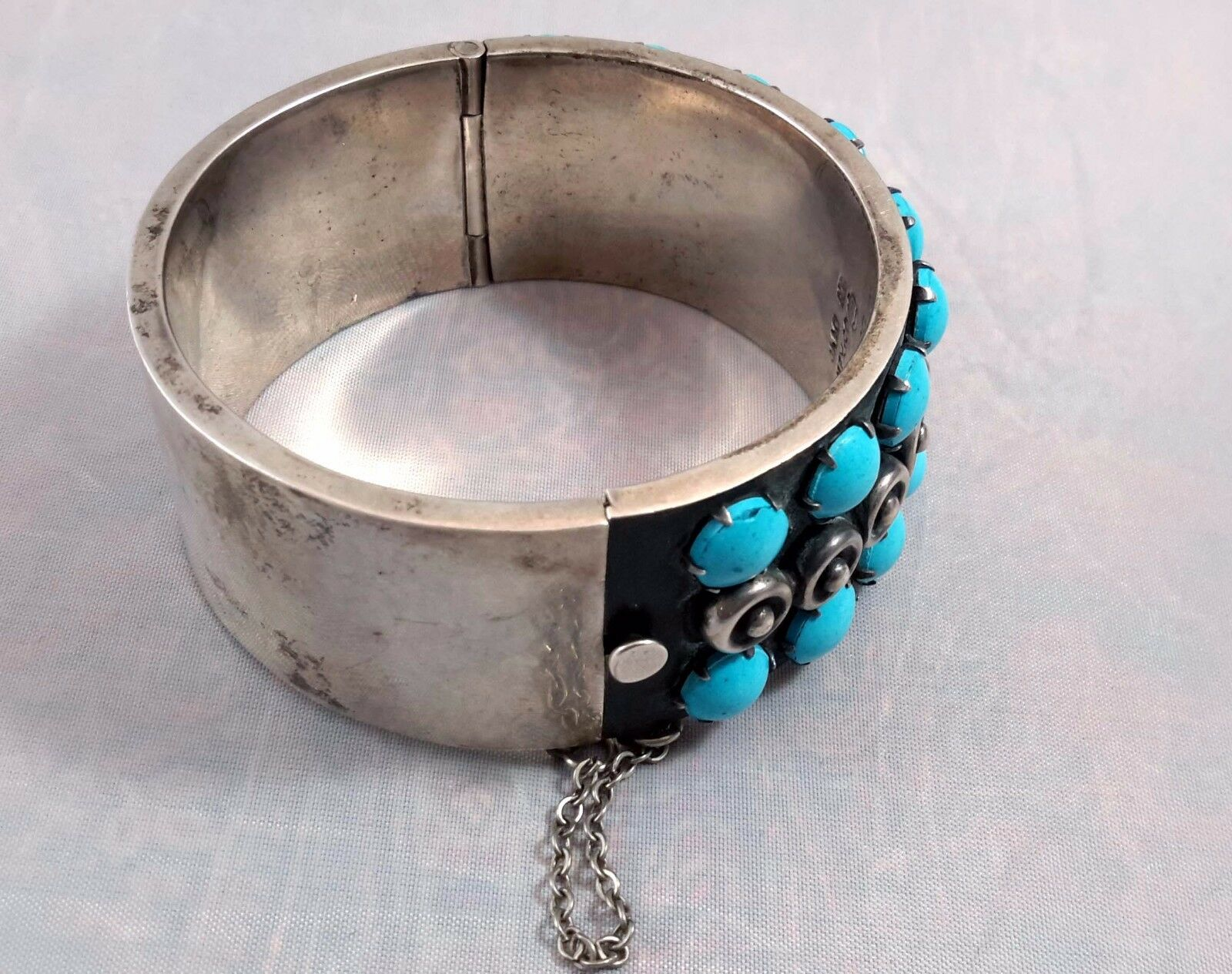MID CENTURY MODERN STERLING SILVER TURQUOISE BRA… - image 3