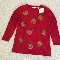 Bechamel Crewneck Red Shirt Long Sleeve Beaded Embroidered Woman Size L