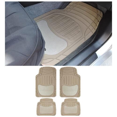 4 pc SM Car Beige Tan Front and Rear Utility Semi-Carpet Rubber Floor Mats Set
