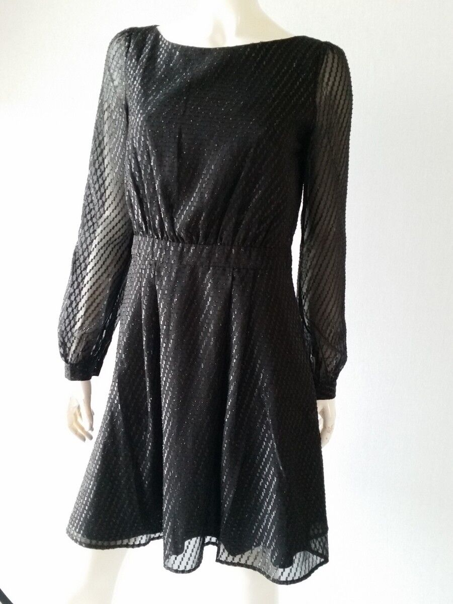 Hallhuber Robe Lurex Diagonal Noir Gr.36 UK8 Neuf