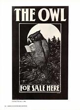 E.B. Bird:The Owl,1895- Owl Reading- Vtg 1975 Bookplate Poster Art Print