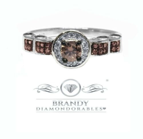 BRANDY diamondorables ® marron chocolat 14K Blanc Or Argent Halo Solitaire Ring