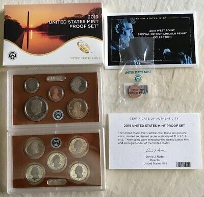 NO Extra W Lincoln Penny 2019 S SILVER PROOF Set US Mint 10 Coins w// BOX COA