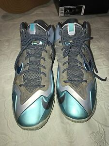 super popular 50372 7f1fd Image is loading Nike-Lebron-XI-GS-Armory-Slate-Gamma-Blue-