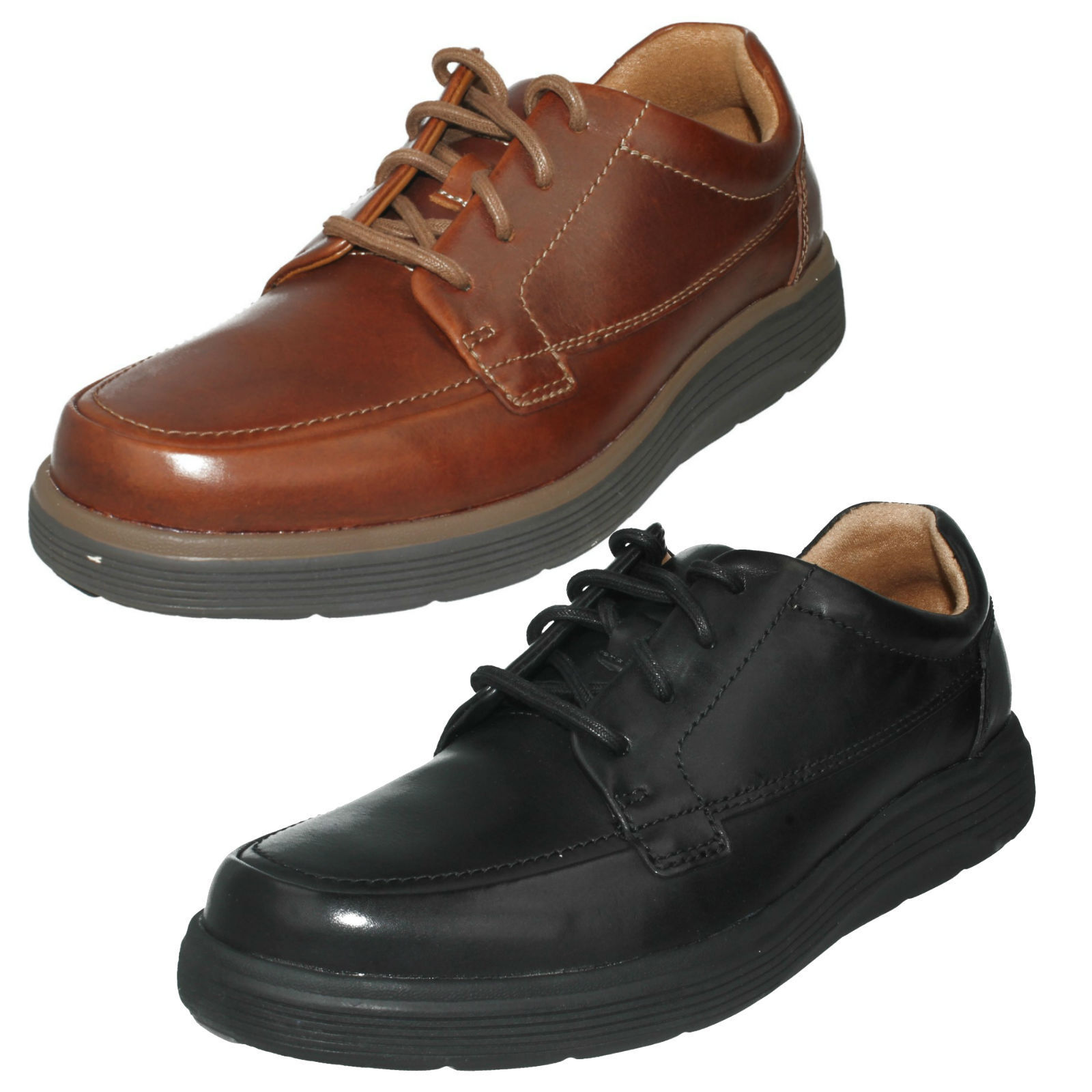 Herren CLARKS LEATHER LACE UP UNSTRUCTUROT CASUAL ABODE SOFT CUSHION Schuhe UN ABODE CASUAL EASE 52feb4