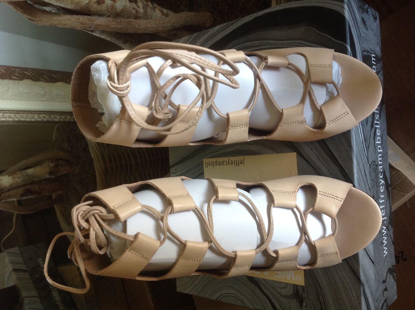 Jeffrey Campbell Allow Women's Natural Leather Lace up Heeled Sandal Sandal Sandal 9.5M  185 4a1026