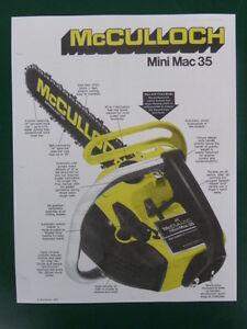 1975 mcculloch mini mac 35 chain saw sales brochure w specs ebay rh ebay com mcculloch mini mac 30 manual instructions mcculloch mini mac 30 chainsaw manual