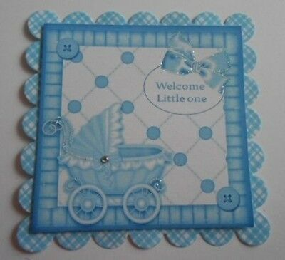 PK 2 WELCOME LITTLE ONE BABY BOY EMBELLISHMENT TOPPERS FOR CARDS AND CRAFTS