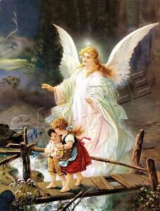 Guardian ANGEL CHILDREN Bridge *CANVAS* Art PRINT LARGE