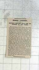 1909 Congo Tyranny, Native Mother Sold For Six Francs To Pay Taxes