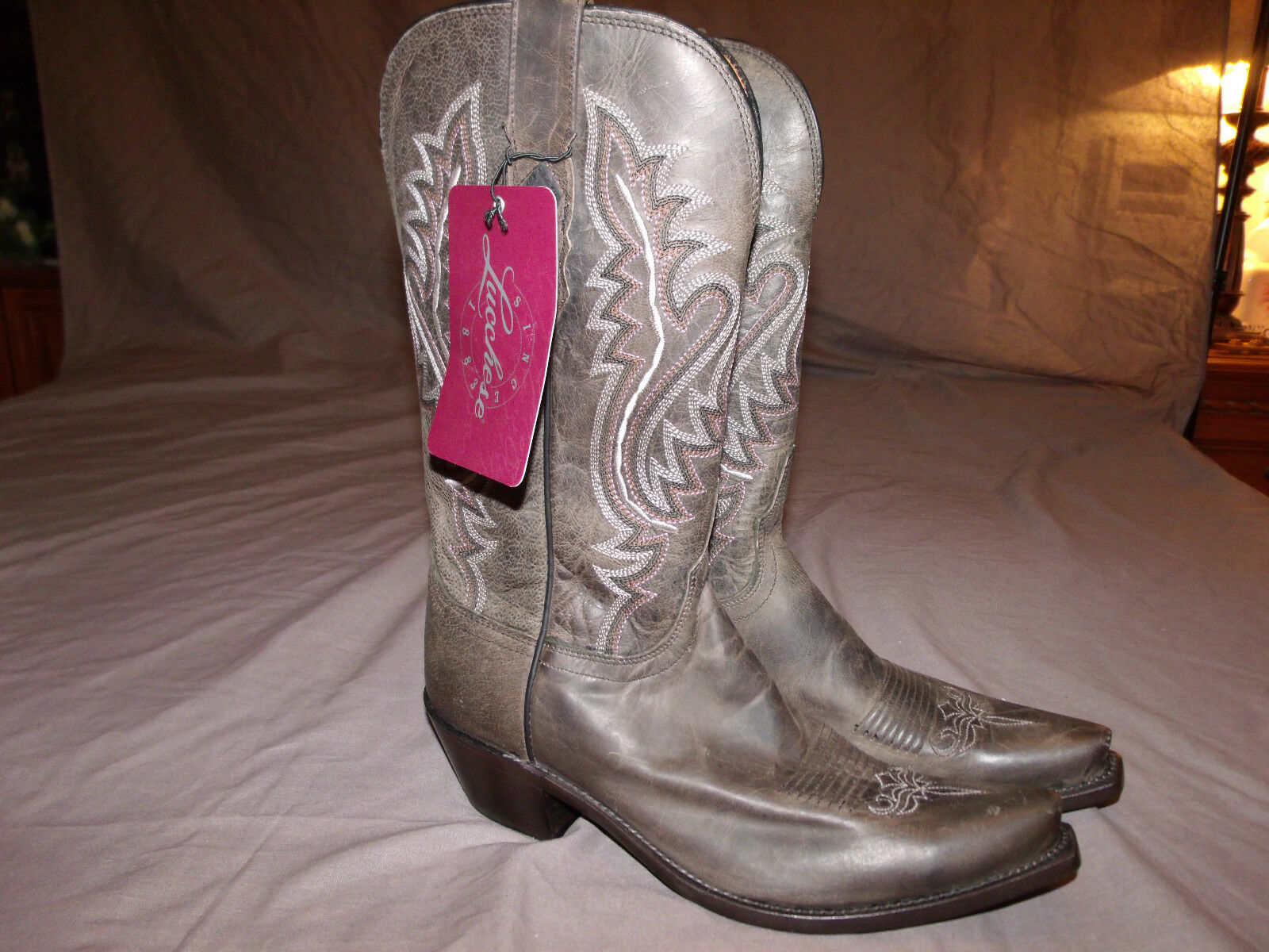 Lucchese 1883 M5001.S54 Anthracite Madras chèvre tout cuir Cowgirl bottes sz 9.0B