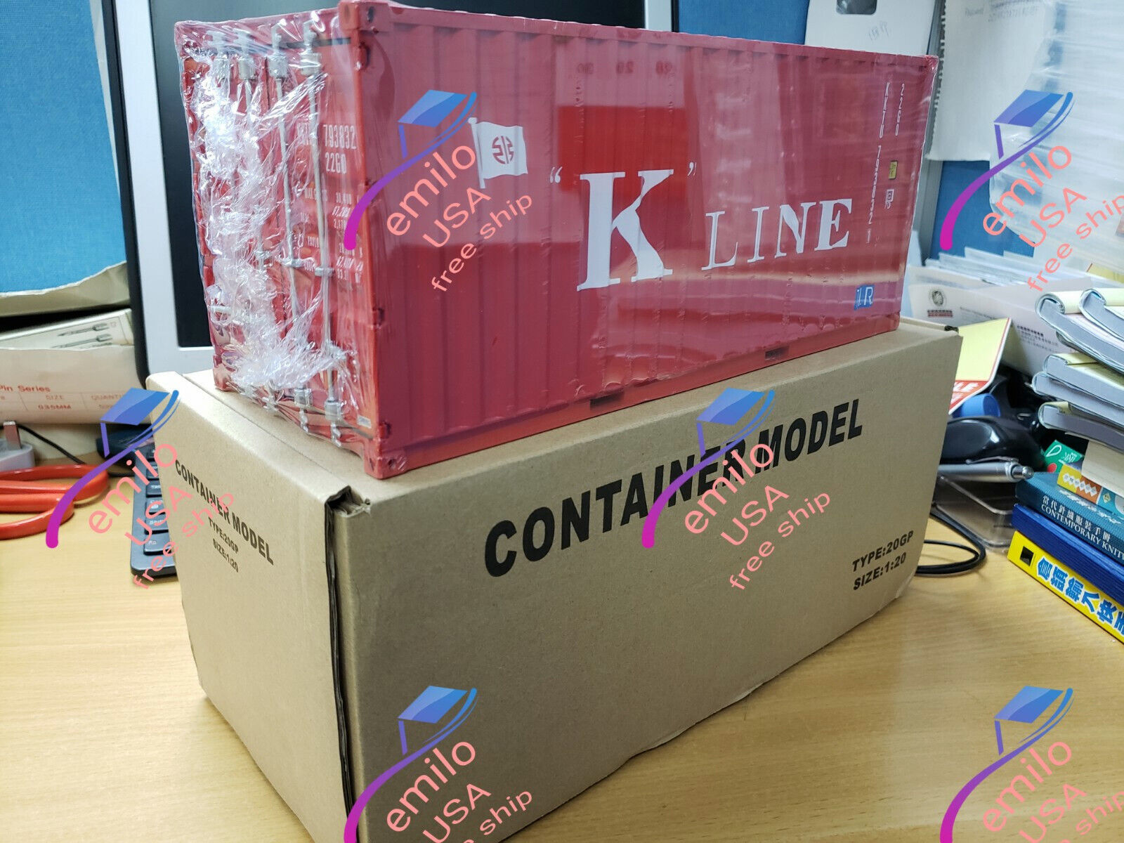 K  LINE T.I.R. 1 20 Sea Transport Cargo Shipping Container Model