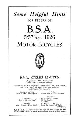 0202 1926 BSA 5.57hp instruction book