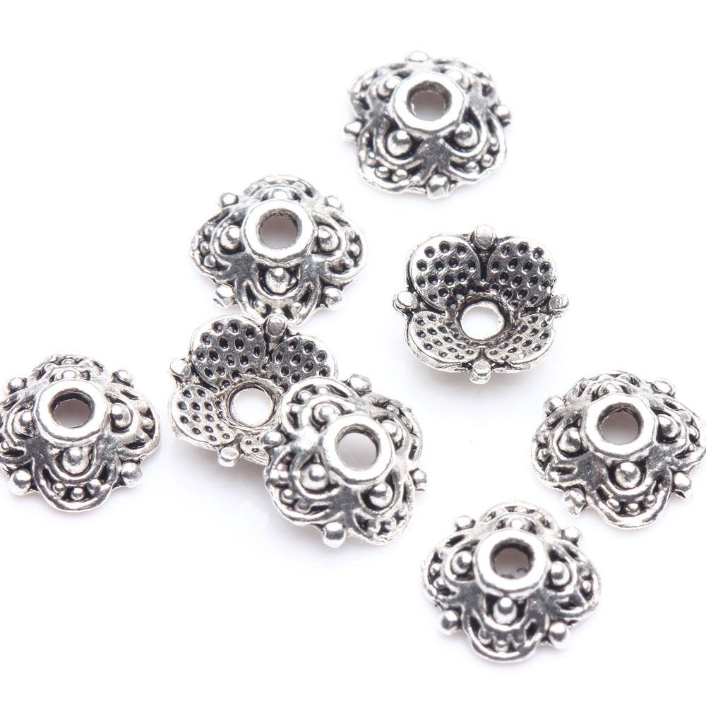 Wholesale 100Pc Tibetan Silver Flower Spacer Bead Caps Jewelry Making DIY 8x3mm