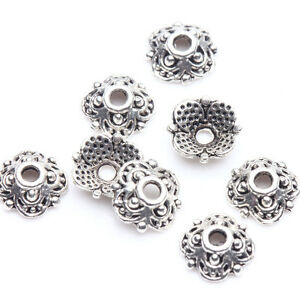 100Pcs-Tibet-Silver-Plated-Flower-Loose-Spacer-Beads-Caps-Jewelry-Making-Finding