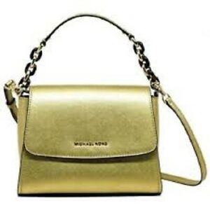 Michael-Kors-SOFIA-SMALL-EW-Satchel-Crossbody-Saffiano-Leather-Bag-NWT-Gold