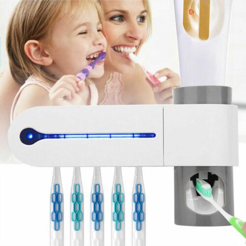 Automatic Toothpaste Dispenser UV Light Sterilizer Toothbrush Holder Cleaner