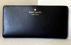 New Kate Spade Schuyler Large Slim Bifold wallet smooth Leather Black