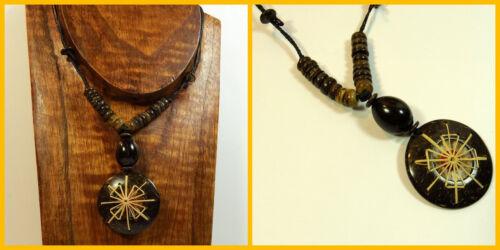 Halskette 100/% Natur Anhänger Holzkette Ökoschmuck  Damenkette UNISEX Indio