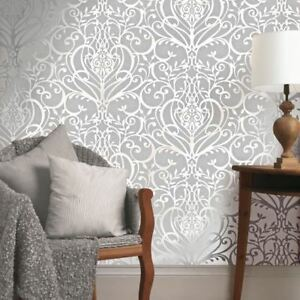 Image Is Loading  NEW EXCLUSIVE HOLDEN VICTORIAN FLORAL DAMASK PATTERN METALLIC