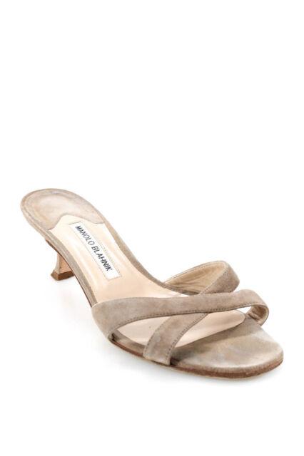 Manolo Blahnik Womens Sling Heel Cross Strap Sandals Beige Suede Size 38.5