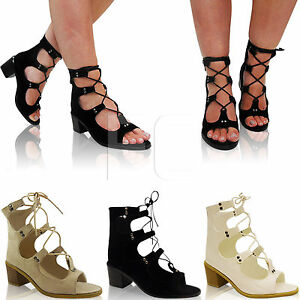 5fa0857f85b NEW LADIES LOW MID BLOCK HEEL PEEP TOE LACE UP CAGED GLADIATOR SHOES ...
