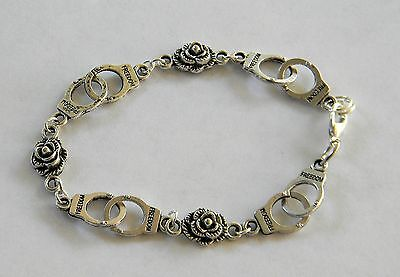 "50 Shades of Grey Inspired Handcuff & Petite Roses Bracelet 8"" Ships from USA"