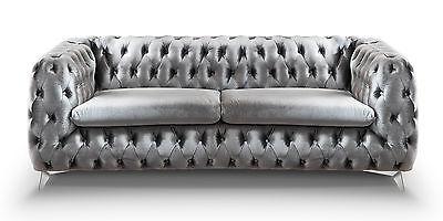 Chesterfield Sofa 3-Sitzer Emma grau Couch Lounge Samt Stoff Schimmereffekt