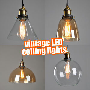 Details About Vintage Led Ceiling Lights Retro Pendant Hanging Lighting Uk