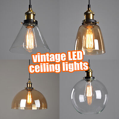 Vintage Led Ceiling Lights Retro Pendant Lights Hanging Industrial Lighting Uk Ebay