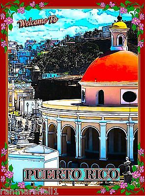 Welcome To Puerto Rico Caribbean Sea America Travel Advertisement Art Poster