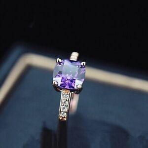 18K-Rose-Gold-GF-Made-With-Swarovski-Crystal-Cushion-Cut-Light-Amethyst-Ring
