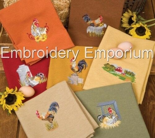 MACHINE EMBROIDERY DESIGNS ON CD OR USB BARNYARD ROOSTERS COLLECTION