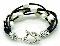 Mutli Strand Black Leather Freshwater Pearl Bracelet Etched Silver Toggle Clasp