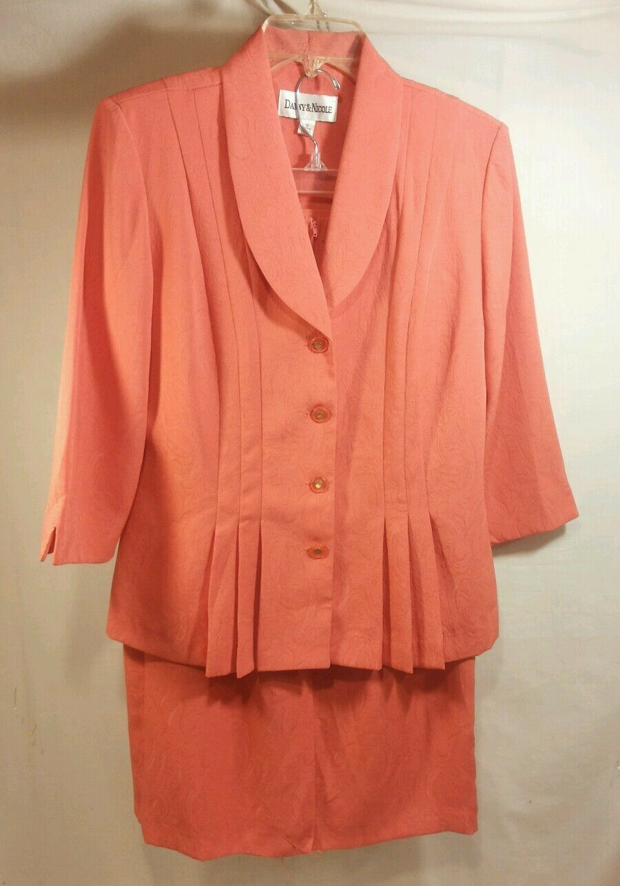 NWT Danny Nicole New York  2 Pc Suit Skirt Dress Set Dark orange  Women's 10