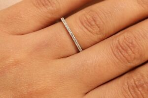 Solid-14k-White-Gold-Diamond-Half-Eternity-Band-Stackable-Ring-Endless-Wedding