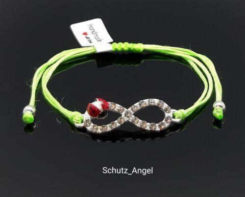 Infinity Unendlichkeit Marienkäfer Armband Kristall Damen Kinder