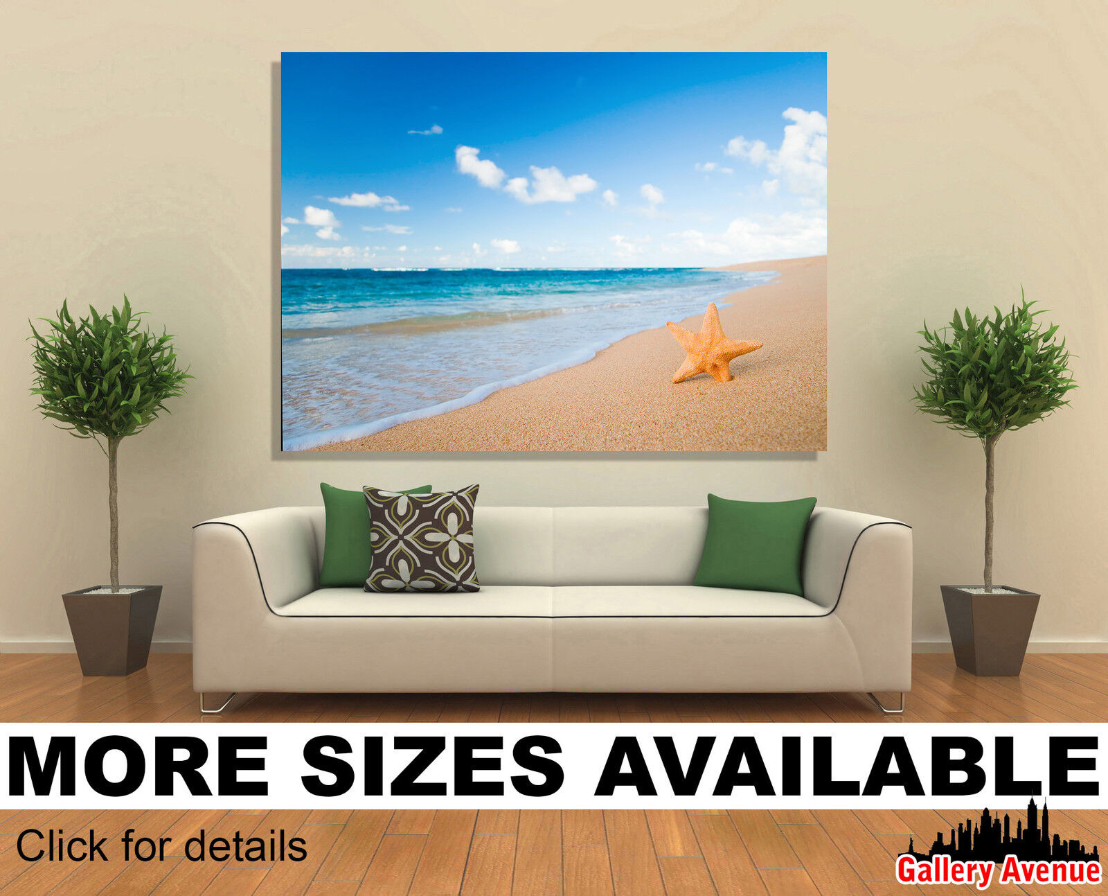 Wand Kunst Canvas Bild Drucken - Starfish, Beach, Ocean, Seascape -3.2