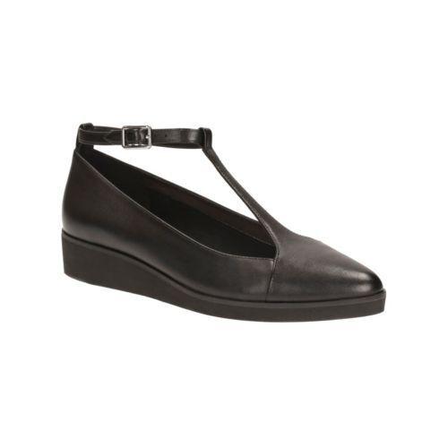 Clarks en cuir noir Femme Cheville Sangle Chaussures ballerines escarpins 6 39.5 - 7.5 41.5 BNWB