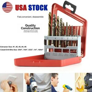 10PC SCREW EXTRACTOR EASY OUT RIGHT HAND DRILL BIT