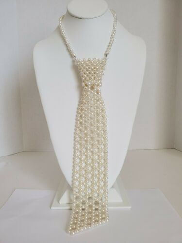 Vintage Hong Kong Faux Pearl Necktie Necklace - 17