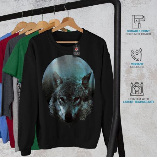 Light shirt Sweat Wolf Noir hommes New Moon v8nOmN0w