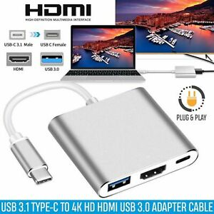 Type C to USB-C 4K HDMI USB 3.0 Hub Adapter Cable For Apple Macbook 3 in 1