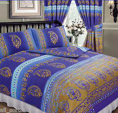 KASHMIR ROYAL BLUE GOLD SPOTS MIDDLE EASTERN ETHNIC FLORAL SINGLE BED DUVET SET