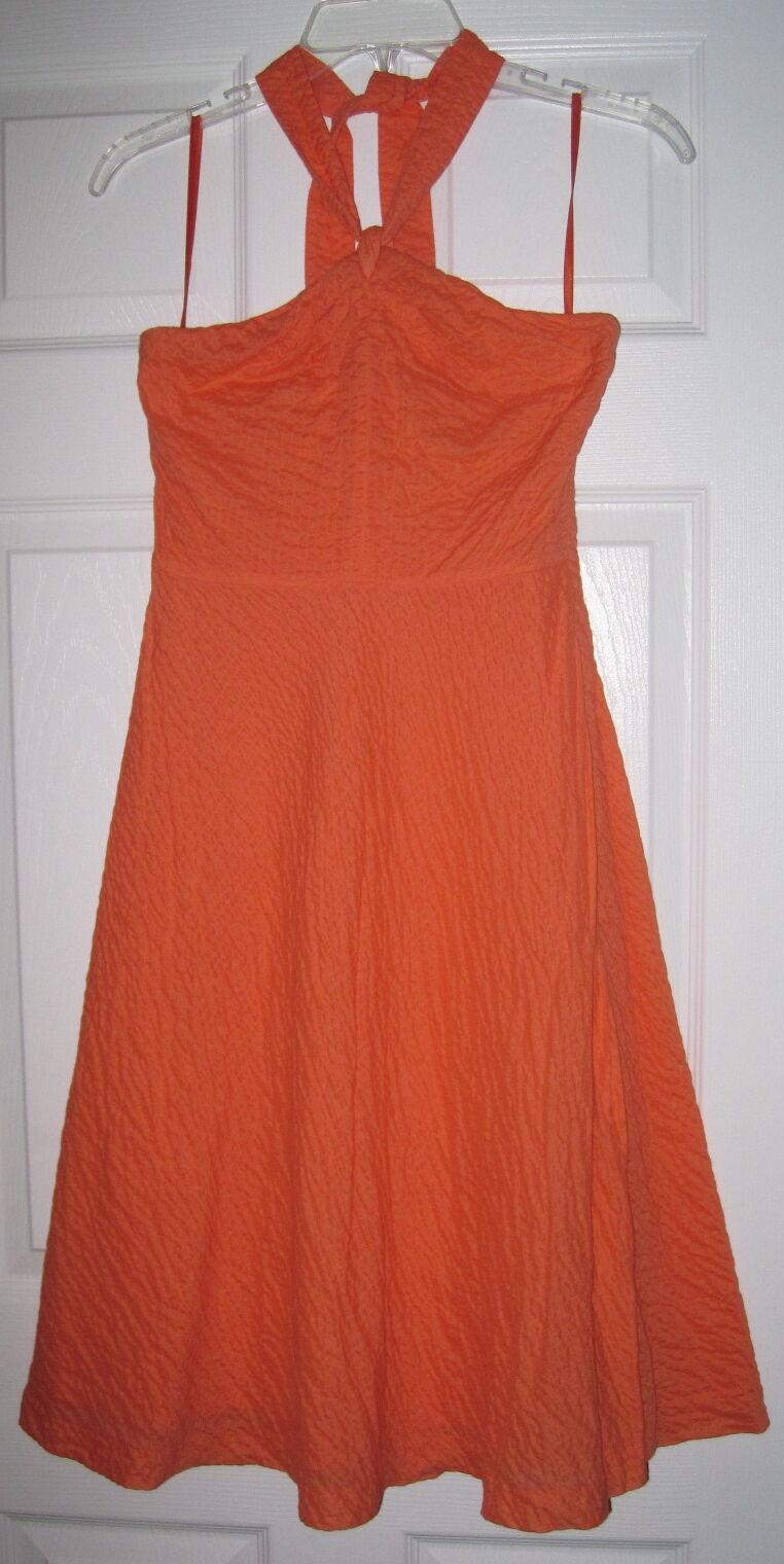 J.CREW PREPPY orange PEACH KNEE LENGTH CRINKLE HALTER 0 DRESS EUC