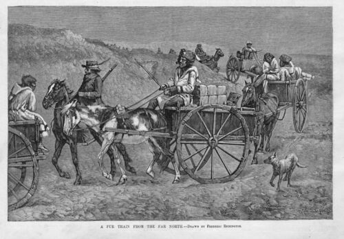 FREDERIC REMINGTON WAGON TRAIN FUR TRAIN FROM THE FAR NORTH HORSE CART INDIANS