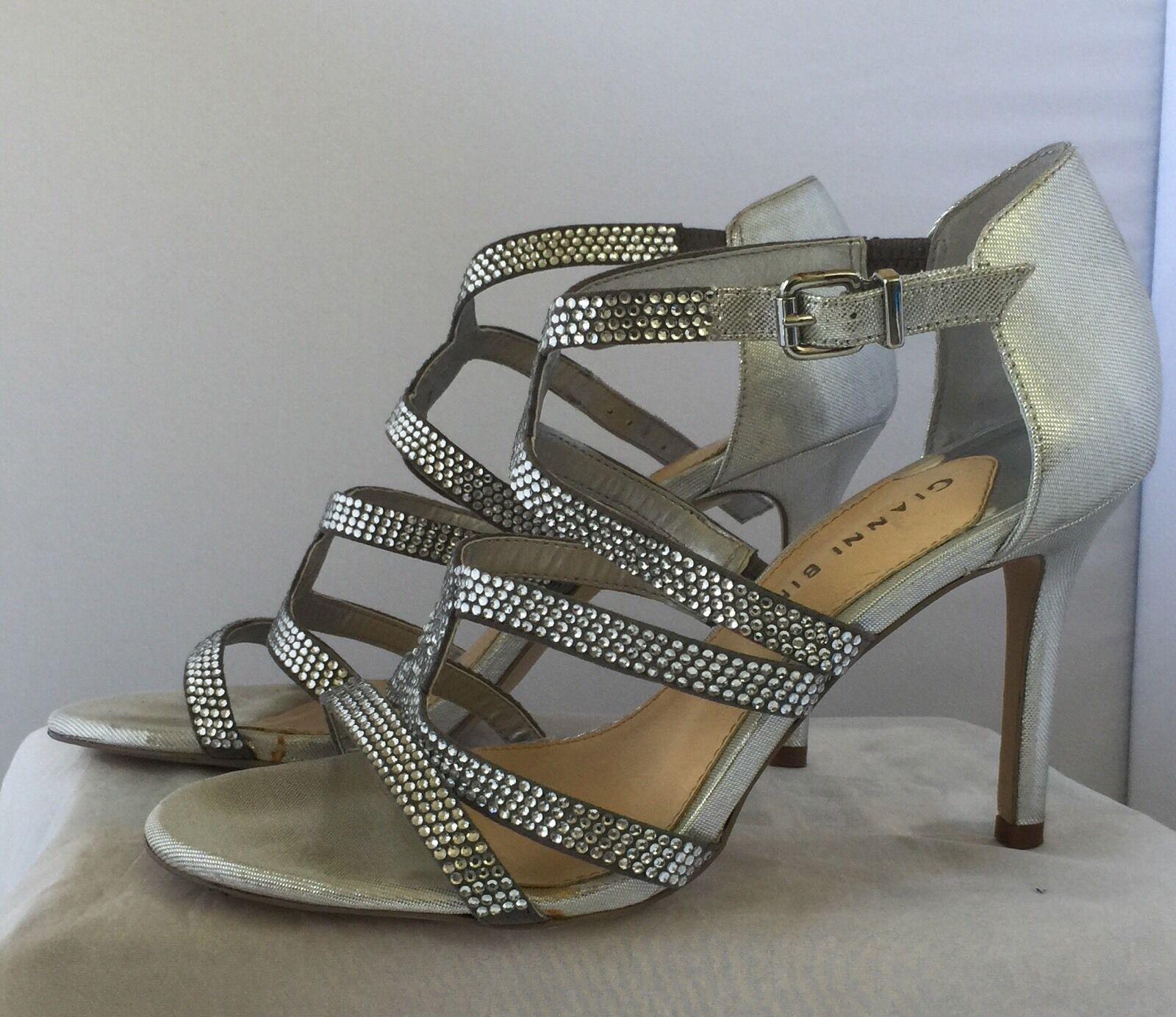 Gianni Bini Women Shoes Silver Rhinestones Leather Sz8M Sole Dress Sandal Heels Sz8M Leather f3320e