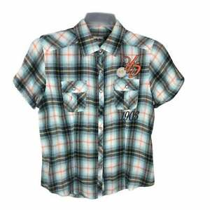 Harley Davidson Western Shirt Pearl Snap Button Up Womens Medium Blue Plaid